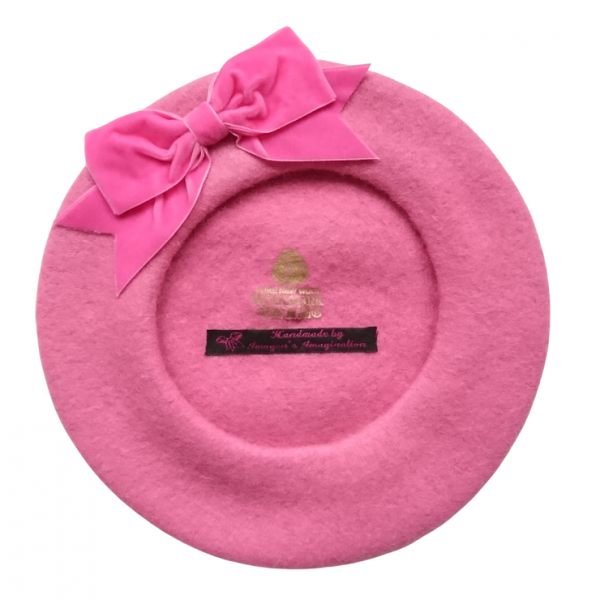 Bubblegum Pink Beret with Bow