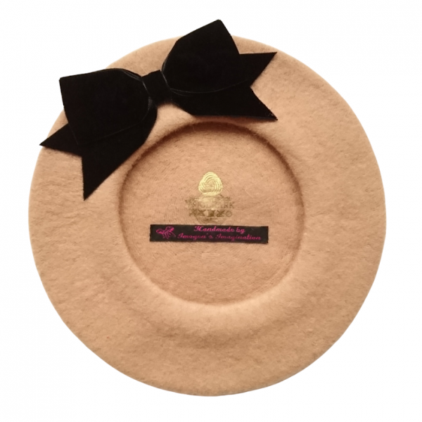 Camel Beret with Black Bow