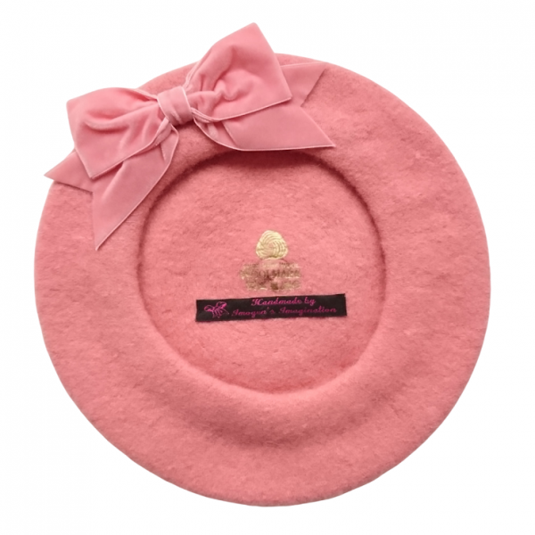 Coral Pink Beret with Bow