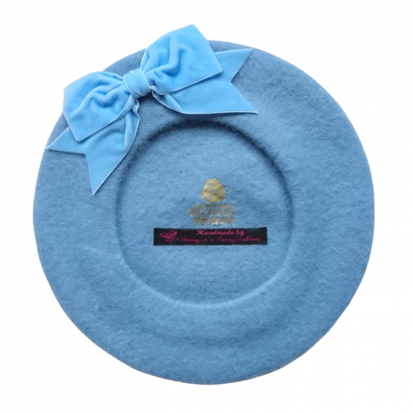 Cornflower Blue Beret with Bow