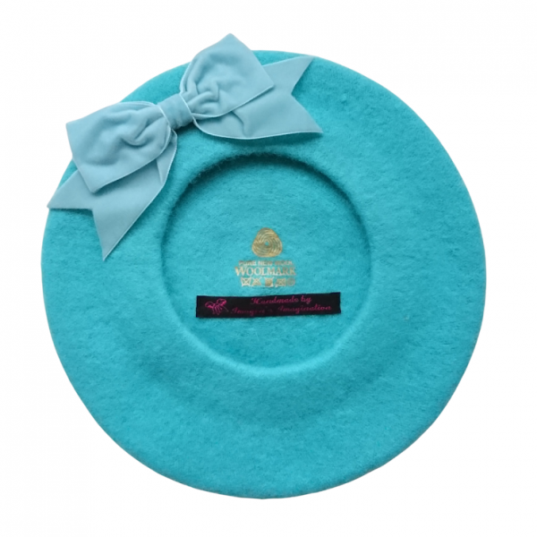Duck Egg Blue Beret with Bow