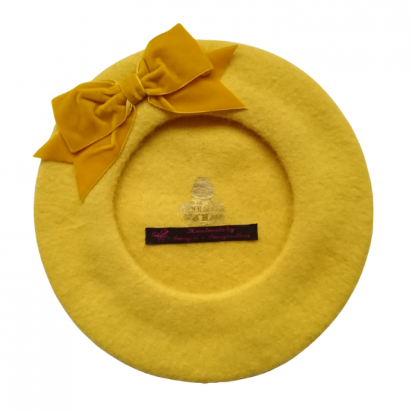 Mustard Beret with Bow