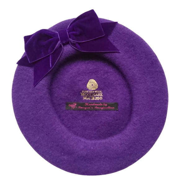 Purple Beret with Purple Bow