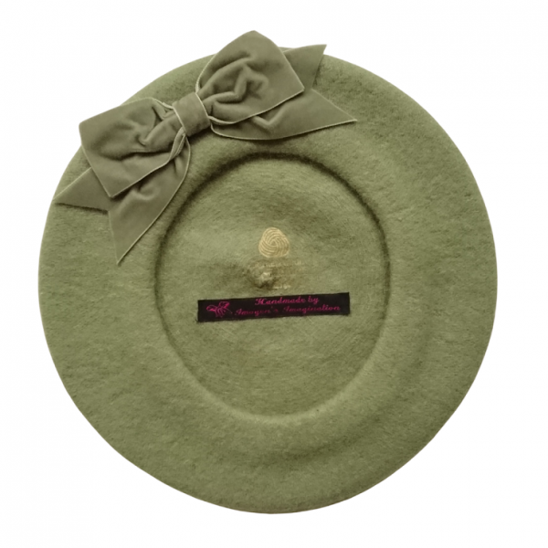 Sage Green Beret with Bow