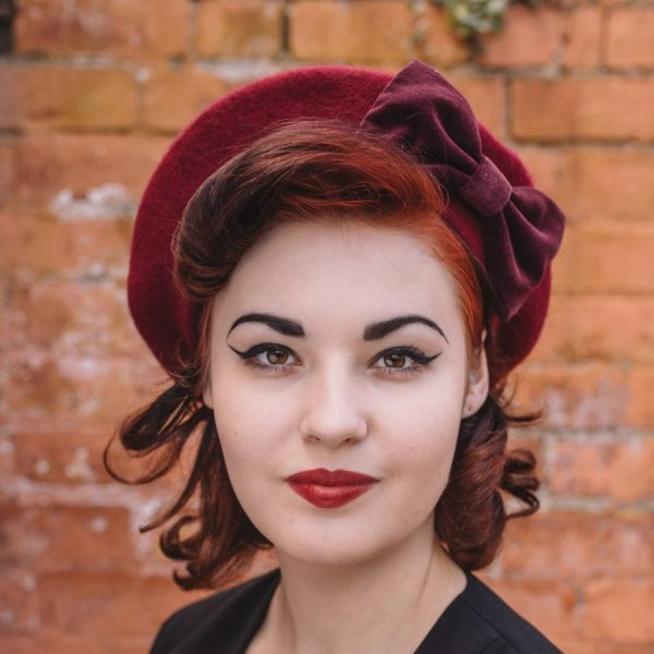 Wine Red Beret Wine Velvet Bow