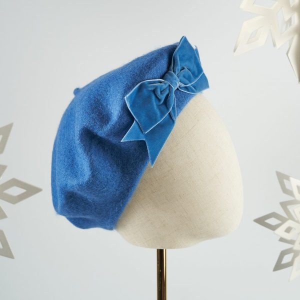 Blue Autumn Winter Hat with a Bow from Imogen's Imagination