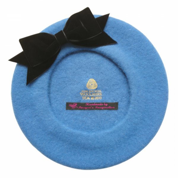 Airforce Blue Beret with Black Velvet Ribbon Bow