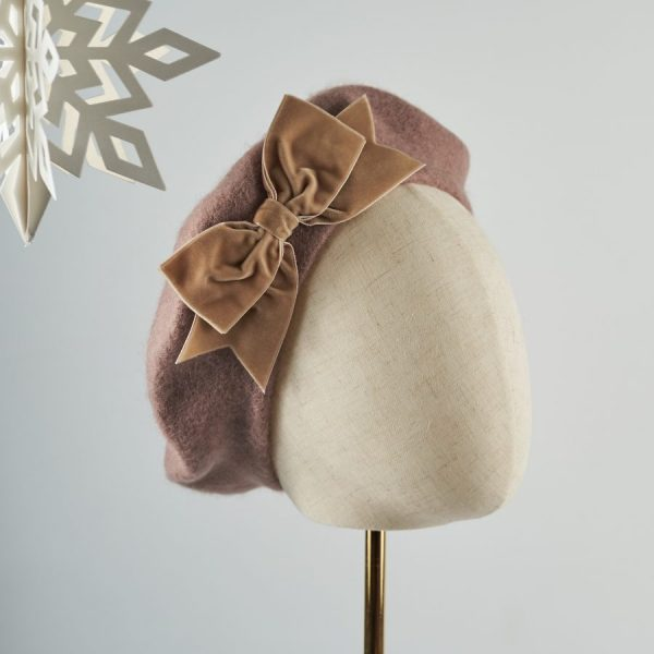 Beige Women's Beret with a Bow by Imogen's Imagination