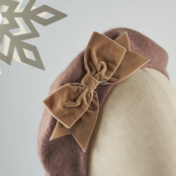 Beige French Beret with a Bow by Imogen's Imagination