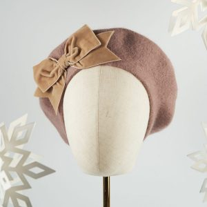 Beige Beret with Beige Velvet Ribbon Bow