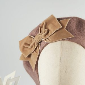 Beige Wool Felt Beret with a Bow by Imogen's Imagination