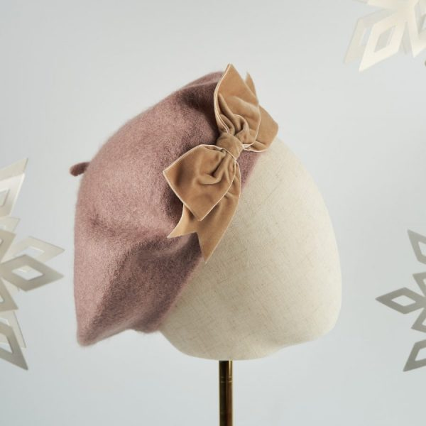 Beige Autumn Winter Hat with a Bow by Imogen's Imagination