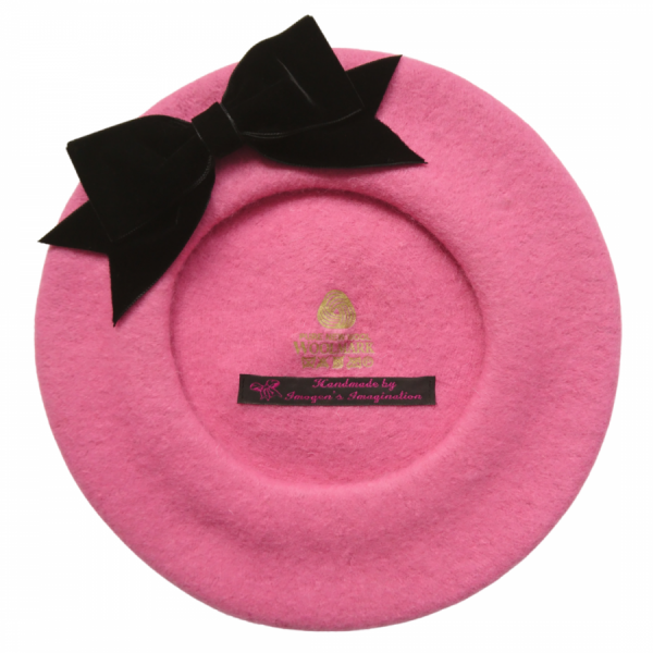 Bubblegum Pink Beret with Black Velvet Ribbon Bow