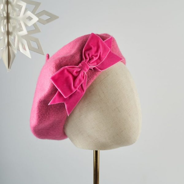 Pink Wool Felt Beret with a Bow by Imogen's Imagination