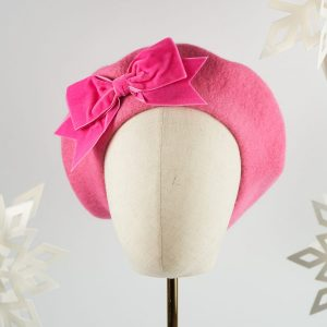 Bubblegum Pink Beret with Pink Velvet Ribbon Bow