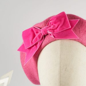 Pink Women's Beret with a Bow by Imogen's Imagination