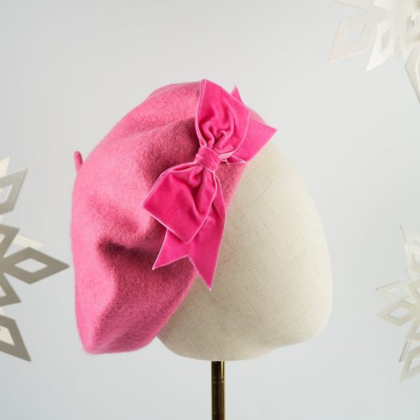 Pink Autumn Winter Hat with a Bow by Imogen's Imagination