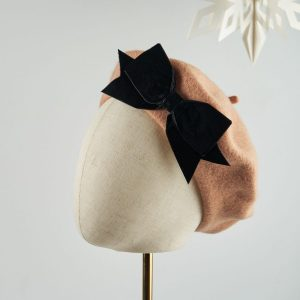 Camel Beret with Black Velvet Ribbon Bow