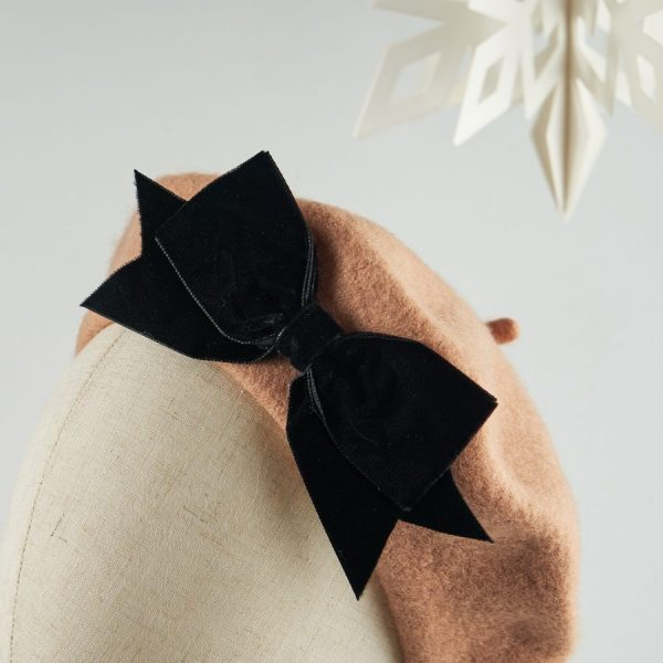 Camel French Beret with a Bow by Imogen's Imagination