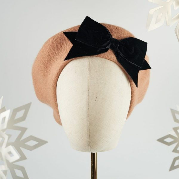 Camel Women's Beret with a Bow by Imogen's Imagination