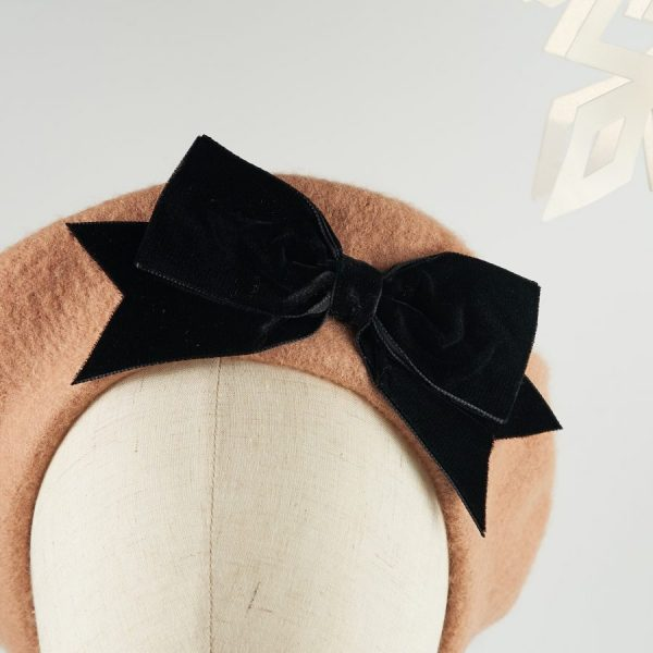 Camel Wool Felt Beret with a Bow by Imogen's Imagination