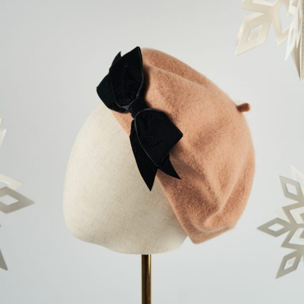 Camel Autumn Winter Hat with a Bow by Imogen's Imagination