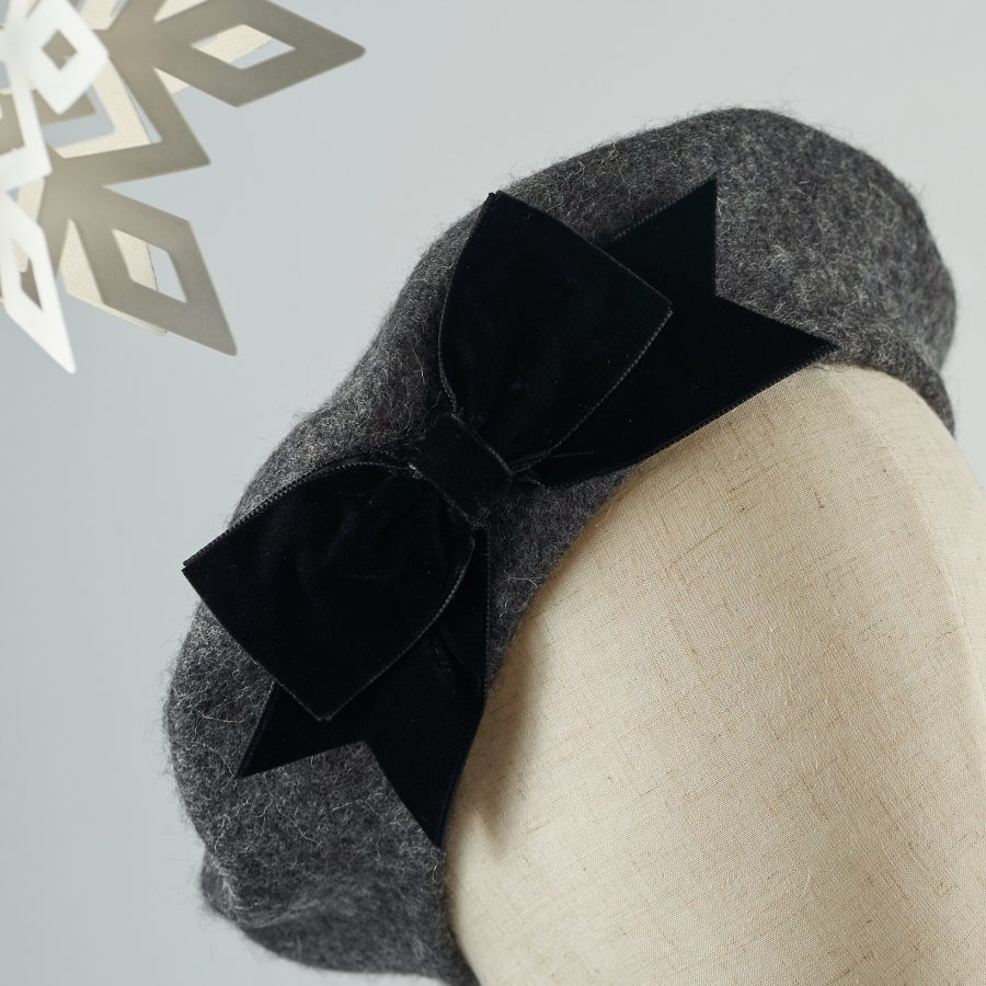 Grey French Beret with a Bow by Imogen's Imagination