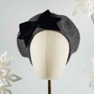 Charcoal Grey Beret with Black Velvet Ribbon Bow