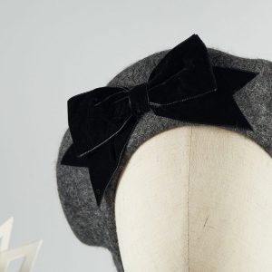 Grey Women's Beret with a Bow by Imogen's Imagination