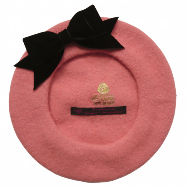 Coral Pink Beret with Black Velvet Ribbon Bow