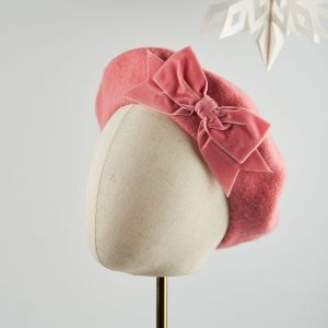 Coral Pink Beret with Pink Velvet Ribbon Bow