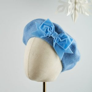 Cornflower Blue Beret with Blue Velvet Ribbon Bow