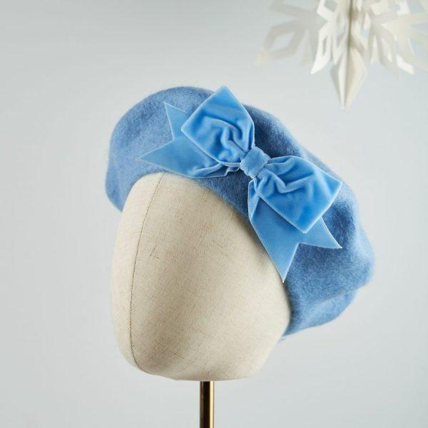Cornflower Blue Beret with Blue Velvet Ribbon Bow