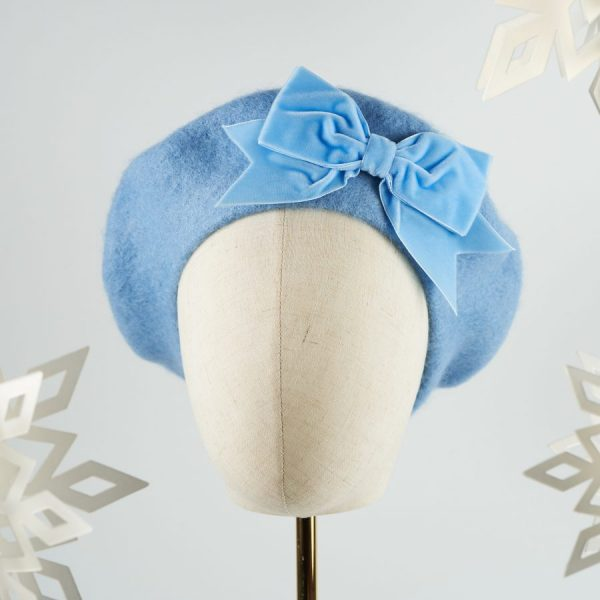 Blue Women's Beret with a Bow from Imogen's Imagination