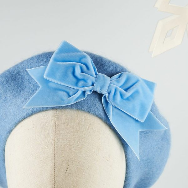 Blue Wool Felt Beret with a Bow from Imogen's Imagination