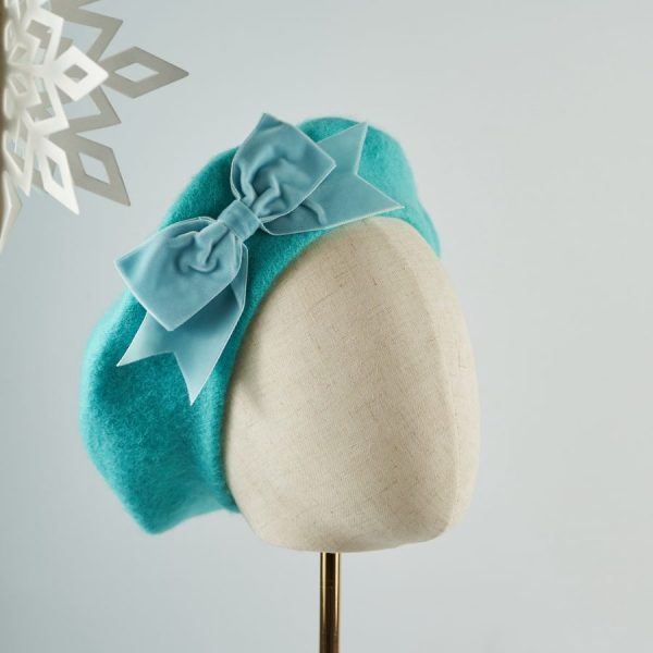 Blue Women's Beret with a Bow by Imogen's Imagination