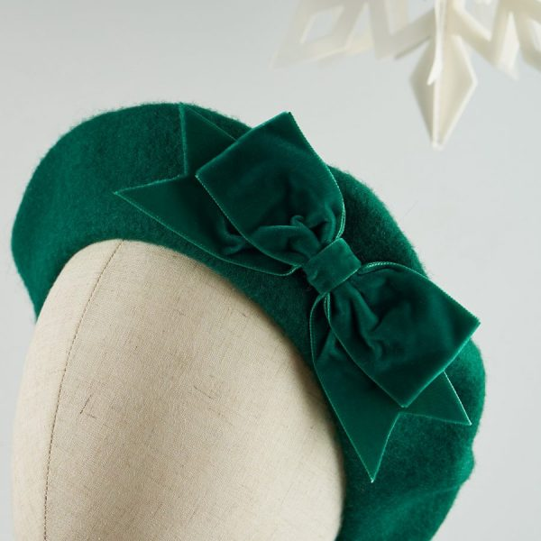Green Autumn Winter Hat with a Bow by Imogen's Imagination