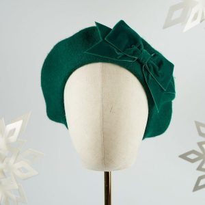 Emerald Green Beret with Green Velvet Ribbon Bow