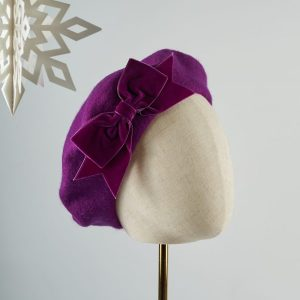 Magenta Beret with Magenta Velvet Ribbon Bow