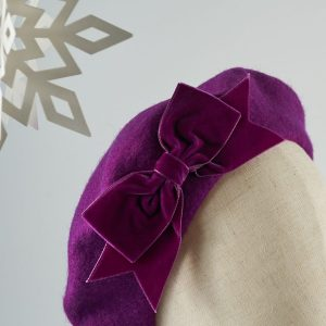 Magenta Purple Autumn Winter Hat with a Bow by Imogen's Imagination