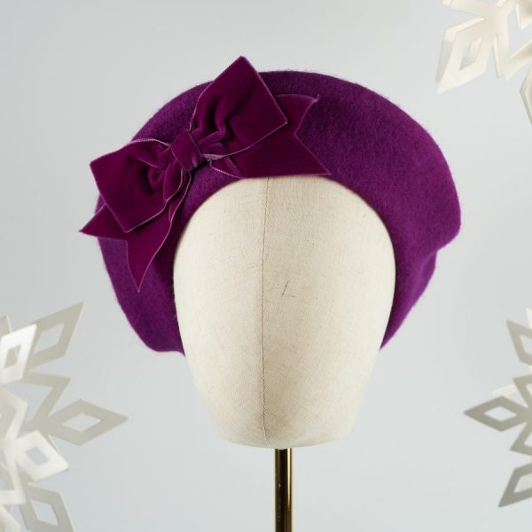 Magenta Purple Wool Felt Beret with a Bow by Imogen's Imagination