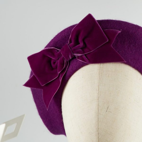 Magenta Purple French Beret with a Bow by Imogen's Imagination