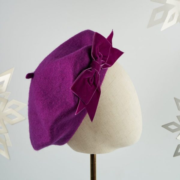 Magenta Purple Women's Beret with a Bow by Imogen's Imagination