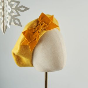 Mustard Beret with Mustard Velvet Ribbon Bow