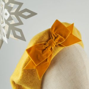 Mustard Yellow Autumn Winter Hat with a Bow by Imogen's Imagination