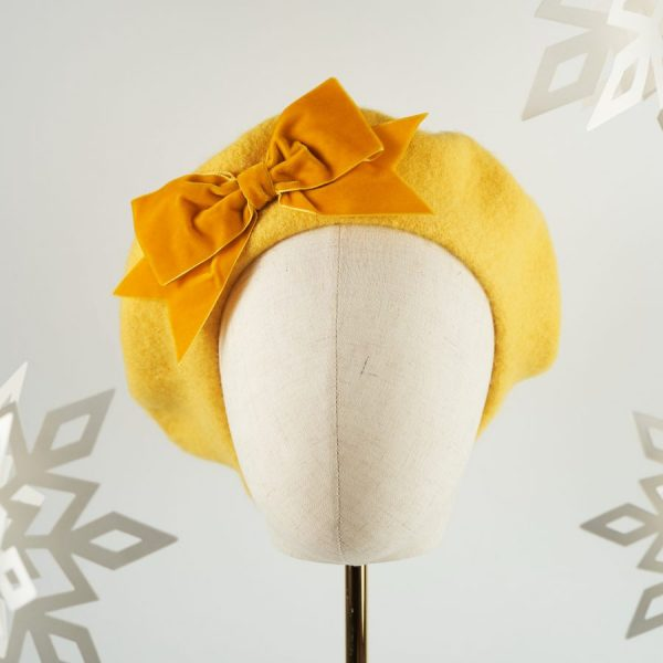 Mustard Yellow Wool Felt Beret with a Bow by Imogen's Imagination