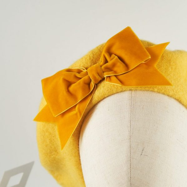 Mustard Yellow Women's Beret with a Bow by Imogen's Imagination