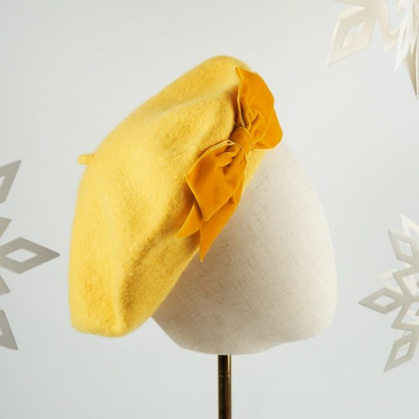 Mustard Yellow French Beret with a Bow by Imogen's Imagination