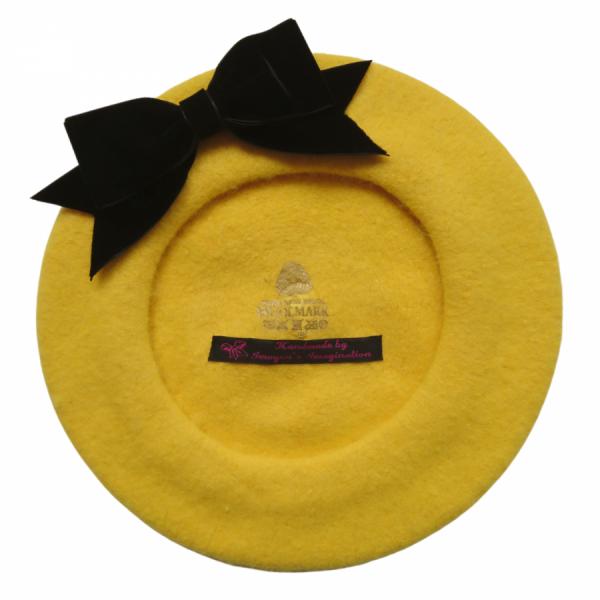Mustard Yellow Beret with Black Velvet Ribbon Bow
