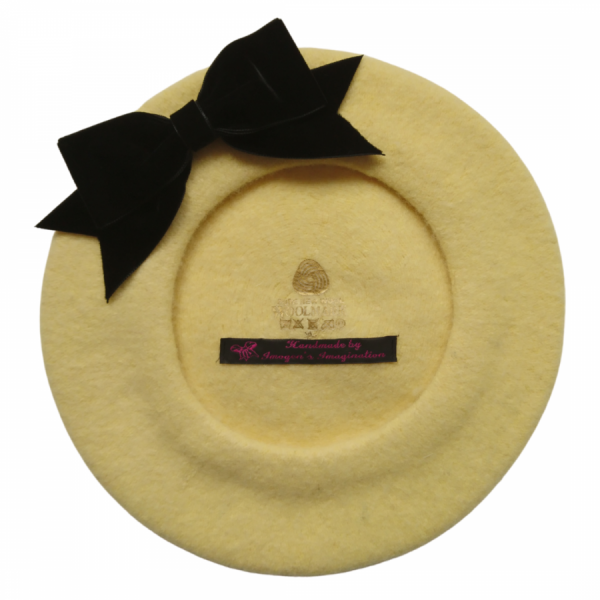 Pale Yellow Beret with Black Velvet Ribbon Bow